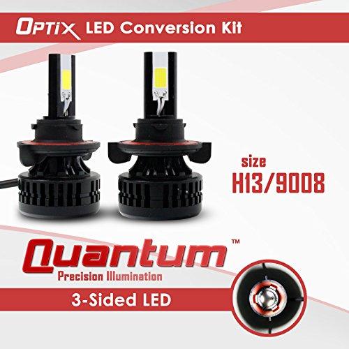 Optix LED Headlight Conversion Kit - Dual Hi / Lo Beam H13 9008 Bulbs - 3-Sided COB - 80W 8000LM - 6000K 6K Cool White - 2pcs
