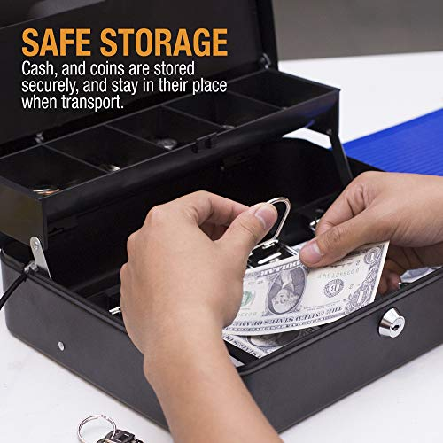 Cash Box with Money Tray- Safe Metal Lock Box- Locking Boxes with Key- Large Storage Lockbox with Safety Holder- Money Saving Organizer- Security Box with Coin Tray Lid Photo #4