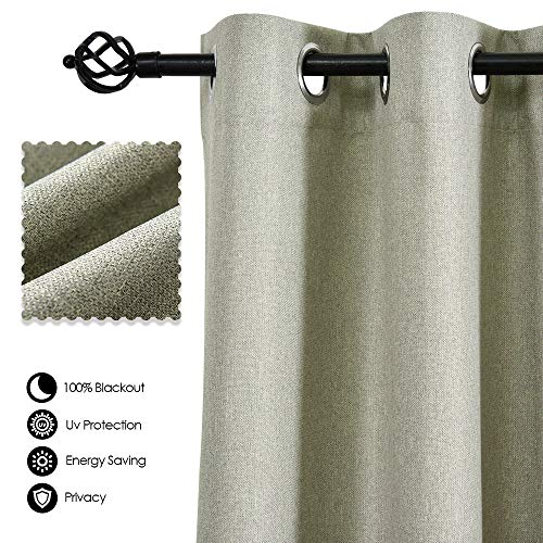 (ALLBRIGHT Faux Linen Grommet Curtain Panels Drapes 100% Blackout Thermal Insulated Curtains for Living Room (Set of 2 Panels, 52 x 84 Inch, Pale Green))