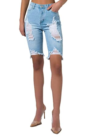 10ad0475ae AKIRA Women's Light Wash High Waist Distressed Raw Hem Bermuda Shorts-Light  Denim_1