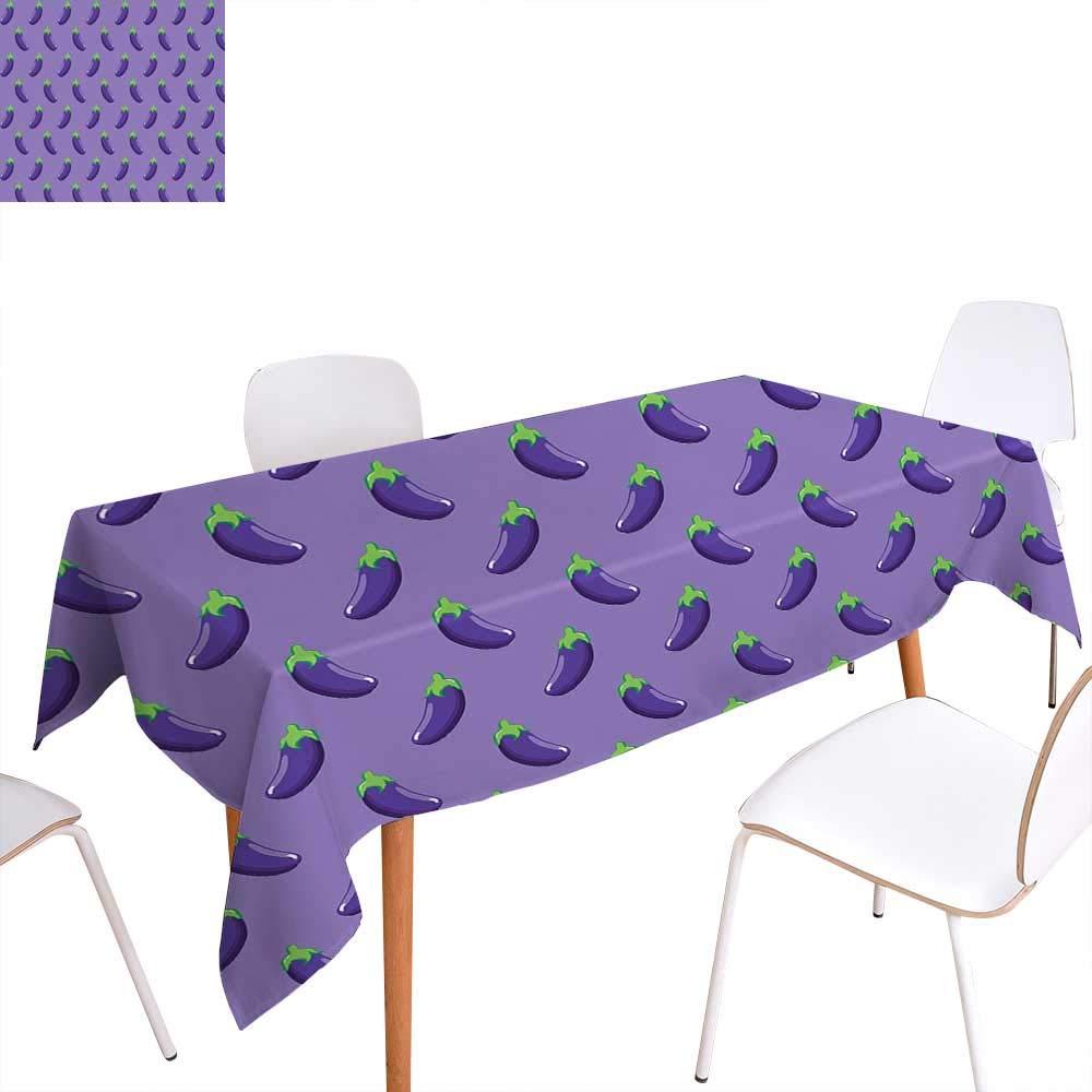 "familytaste Eggplant Rectangular Tablecloth Appetizing Eggplants in Order Symmetrical Vegan Foods Healthy Fresh Ingredients Oblong Wrinkle Resistant Tablecloth 60""x90"" Purple Violet"