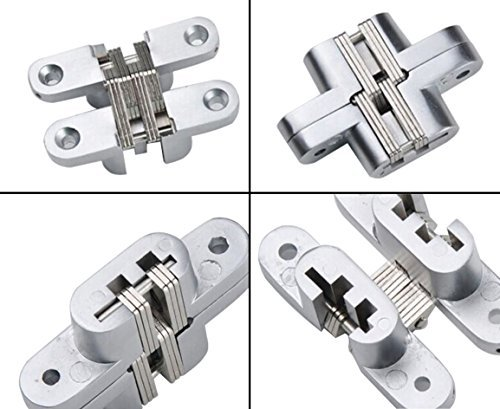 "Premium Mortise Mount Invisible/Concealed Hinges (2-3/8"" Leaf Height) with 4 Holes (2 Hinges), Zinc Alloy, Satin Nickel Finish, 1/2"" Leaf Width, 23/32"" Leaf Thickness, Easy to Install"