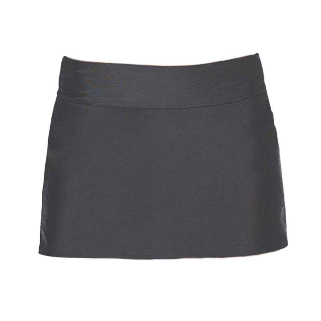 Homyl Women's Solid Color Skirted Bikini Bottom Skort Swimsuit Bottom Beachwear Plus Size - Black XL, as Described