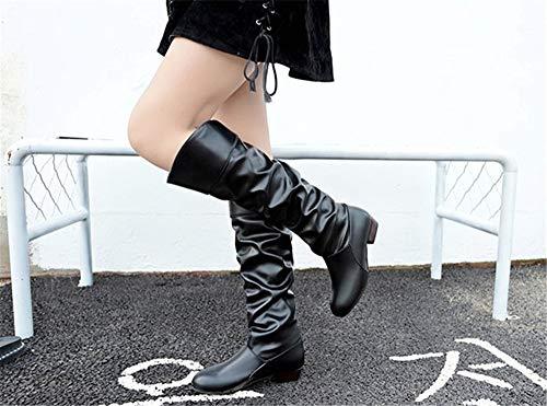 Informale Divertimento Whl Maniche Shoes Autunno Bianco Inverno Signora Manica Grande Stivali Black Della Artificiale qEqArHRt