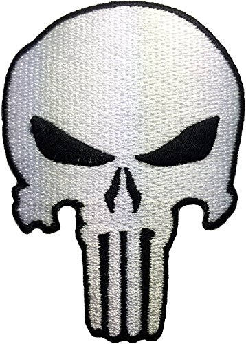 White Skull Sew on Iron on Embroidered Applique Patch - White - By Ranger Return (RR-IRON-PUNI-SKUL-WHBK)