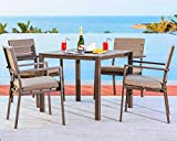 Solaura Outdoor/Indoor Use Furniture Bar Set/Dining Set for Square Patio/Backyard/Pool with Neutral Beige Water-Resistant Cushions