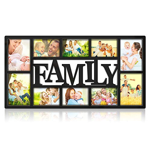 NEX Family Picture Frame Collage Wall Hanging 10 Openings Four 5X7 and Six 4X6 Photos Plastic Black ()