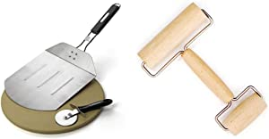 Cuisinart CPS-445, 3-Piece Pizza Grilling Set, Stainless Steel & Norpro Wood Pastry/Pizza Roller