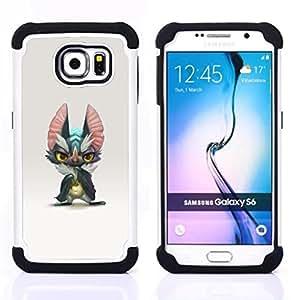 For Samsung Galaxy S6 G9200 - CUTE MONSTER BIG EARS GREY CARTOON ART Dual Layer caso de Shell HUELGA Impacto pata de cabra con im??genes gr??ficas Steam - Funny Shop -