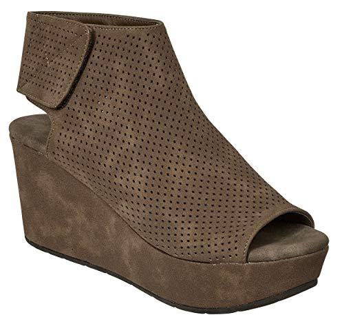 MVE Shoes Women's Stylish Cushioned Open Toe Adjustable Strap Platformed Wedge Sandal, Natural-2 Taupe 7.5