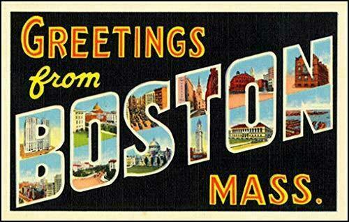JR Studio 3x5 inch Vintage Greetings from Boston Sticker (Old Postcard Art Logo Mass) Vinyl Decal Sticker Car Waterproof Car Decal Bumper Sticker ()