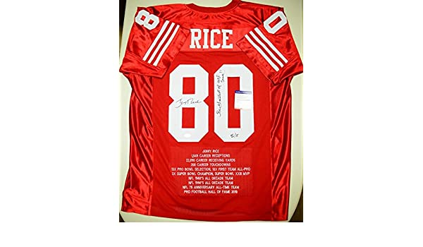 more photos cf1ae a6970 Jerry Rice Autographed Stat Jersey Authentic PSA/DNA SIGNED ...