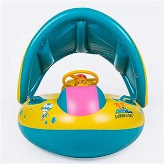 Amyove Forma de Bote Inflable Anillo de natación con toldo Parasol para niños bebés Infante