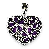 Sterling Silver Marcasite Purple Enamel Flower in Heart Pendant