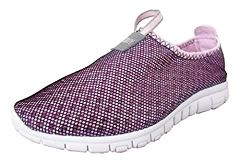 TOOSBUY Women's Aqua Water Shoes,Walking Casual Comfort Slip On Lightweight Fashion Sneakers Pink (Cherub Mask)