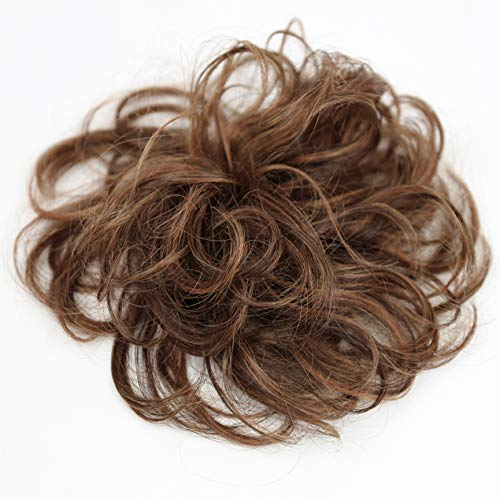 PRETTYSHOP 100% Human Hair Up Scrunchie Scrunchy Extensions Hairpiece Do Bun Ponytail Diverse Colors (brown mix 4H30 H3121)