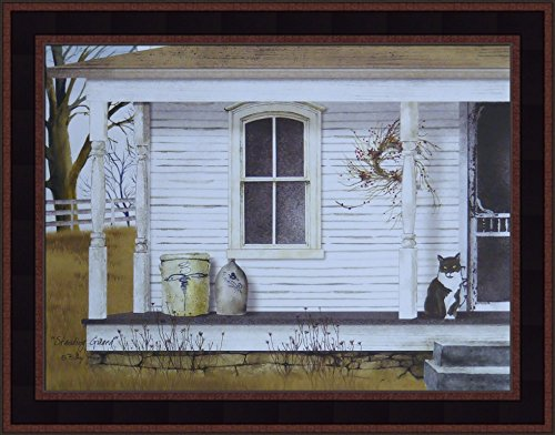 (Standing Guard by Billy Jacobs 15x19 House Porch Crocks Tuxedo Cat Country Primitive Folk Art Print Framed Picture)