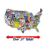 USA License Plate Map 1000 Piece Jigsaw Puzzle in the Shape of the US - 31 inches long - Cool Wall Art
