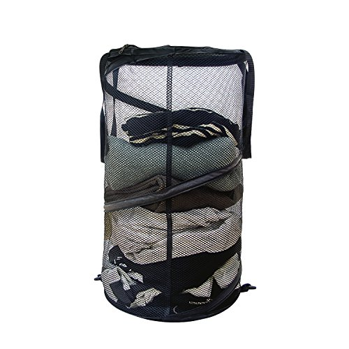 ACMETOP Durable Mesh Pop up Laundry Hamper, Collapsible Laundry Basket for Dirty Clothes / Toys Storage / Dorm Room Accessories - Reinforced Seams, Zippered Lid, Black - 1 Pack