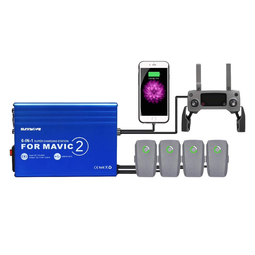 DDLmax 6-IN-1 Battery Charger with USB Super Charging Station For DJI MAVIC 2 PRO/ZOOM