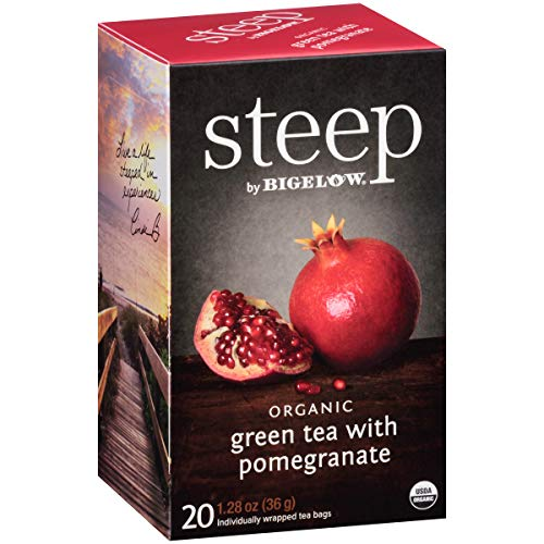 Steep by Bigelow Organic Green Tea with Pomegranate 20 Count (Pack of 6) Organic Caffeinated Individual Green Tea Bags, for Hot Tea or Iced Tea, Drink Plain or Sweetened with Honey or Sugar