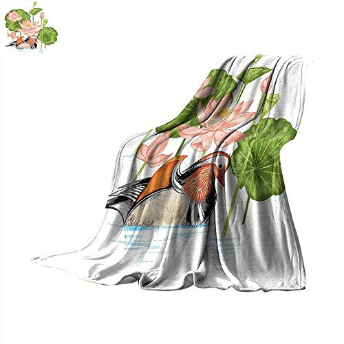 smallbeefly Rubber Duck Digital Printing Blanket Baby Mandarin Duckling in Pond with Lotus Lily Flowers Water Painting Summer Quilt Comforter 90