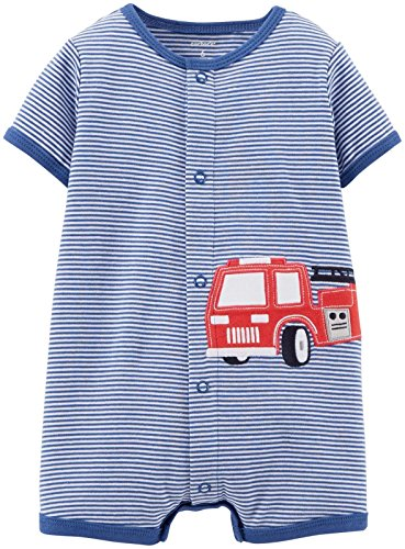 Carter's Baby Boys' Striped Romper (Baby) - Firetruck - 24 Months