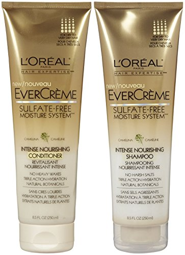L'Oreal Paris EverCreme Sulfate-Free Moisture System Intense Nourishing, DUO set Shampoo + Conditioner, 8.5 Ounce, 1 each (Loreal Sulfate)
