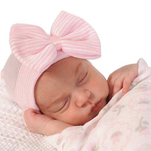 Urberry Newborn Handmade Hat, Knitted Crochet Cap for Babies (0-3 Months), Infants' Big Bow Headwrap (A)