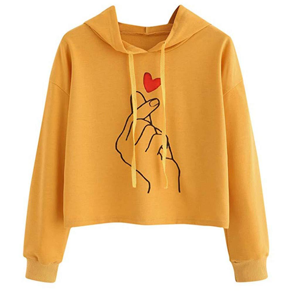 Maonet Women's Long Sleeve Casual Hooded Sweatshirt Pullover Top Blouse (L, Orange)