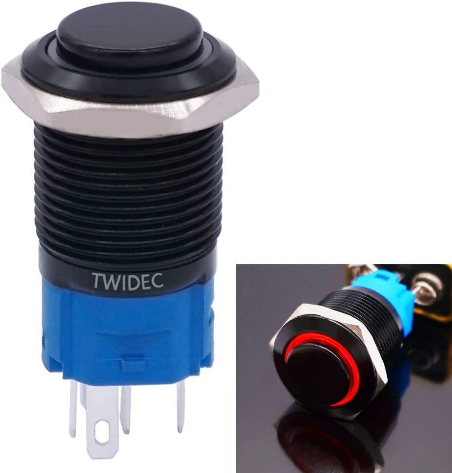 Twidec//16mm Raised Top Momentary Push Button Switch 1NO 1NC SPDT Mounting Hole Black Waterproof Stainless Steel Shell with 12V Led Green Ring Pre-wiring Wires for car Modification Switch GM16O-BK-G
