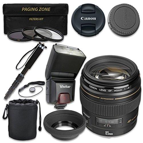 Canon EF 85mm f/1.8 USM Lens with Vivitar TTL Flash + 3pc Filter Kit + Monopod