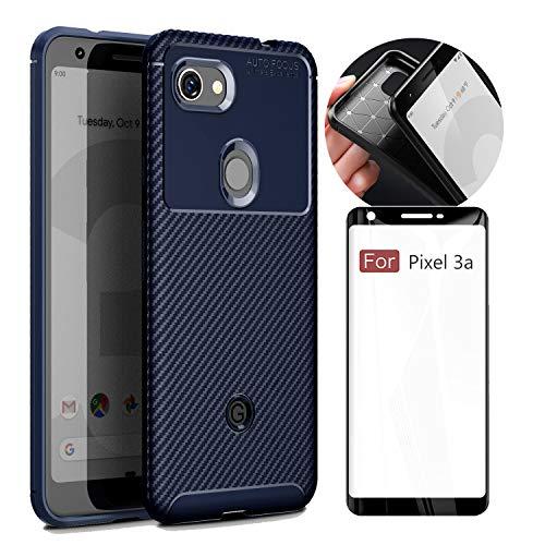 Google Pixel 3a case,Pixel 3a case with Screen Protector,Pixel 3a case Blue, Pixel 3a Screen Protector Glass,Shockproof Soft Rubber TPU Bumper Case Slim fit W/Anti Slip Grip(Navy Blue,Pixel 3A case)