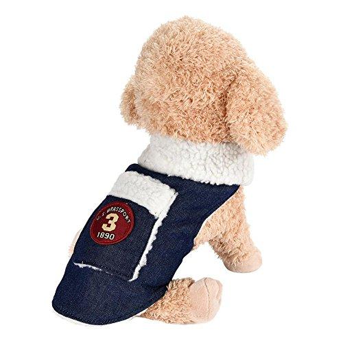 Hot Sale!!Coat for Pet,Simayixx Dogs Jeans Pocket Lambskin Sheaths Clothes Warm Lapel Jacket Puppy Pet Costume (L, Blue) -