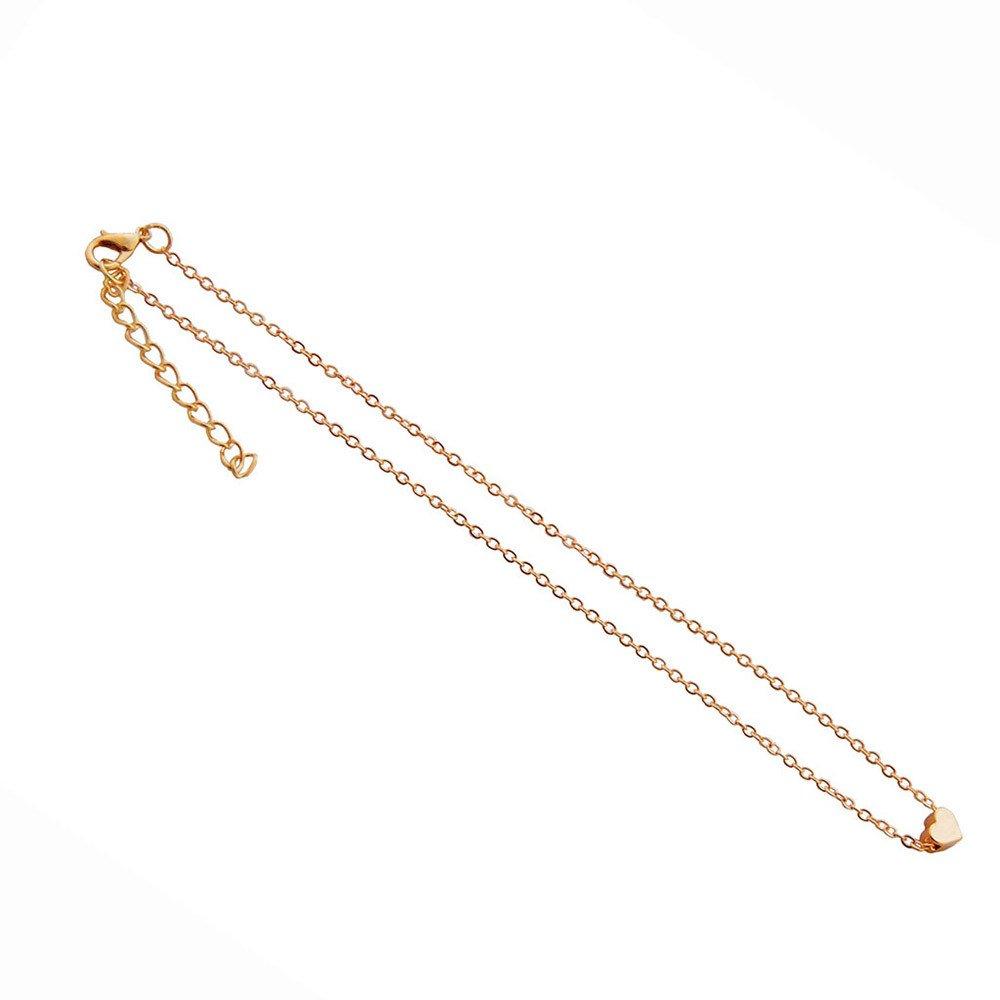 Elogoog Womens Love Heart Choker Necklace Handmade Simple Delicate Silver Gold Plated Collar Pendant Lovers Gifts Elogoog Women jewelry