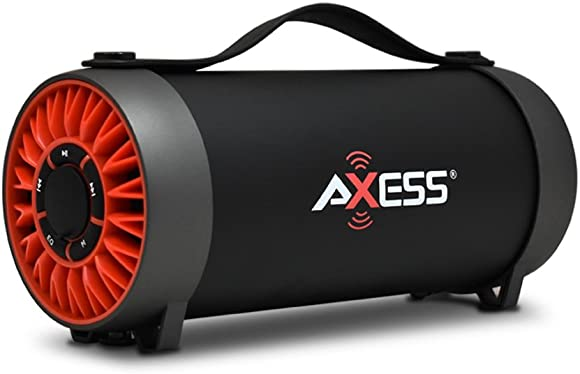 AXESS SPBT1056 Portable Bluetooth Speaker With Built-In Usb Support, Fm Radio, Line-In Function And Rechargeable Battery, Red