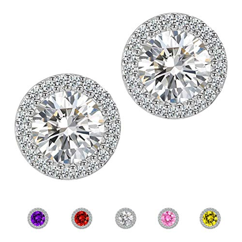 Stud Earrings,Fashion Jewelry Cubic Zirconia Halo Earrings for Women (Green Diamond Stud Earrings)
