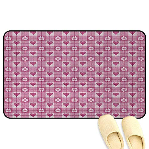 homecoco Abstract Office Comfort Standing Mat Hearts Flower Petals on Square Striped Background Kids Girls Lovely Image Magenta Pale Pink 3D Digital Printing Mat W24 x L35 - Commode Cottage