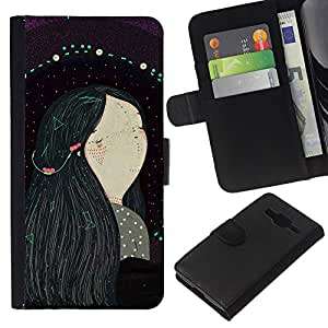 All Phone Most Case / Oferta Especial Cáscara Funda de cuero Monedero Cubierta de proteccion Caso / Wallet Case for Samsung Galaxy Core Prime // Black Hair Girl Painting Art