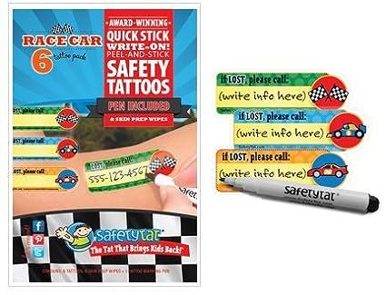Quick Stick Write-on Child ID Tattoos Race Car