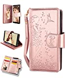 Samsung S9 Plus Case,Galaxy S9 Plus Wallet Case,FLYEE 9 Card Slot PU Leather Magnetic Protective Cover with Mirror and Wrist Strap for Samsung Galaxy S9 Plus 6.2 inch Nine Card-Rose Gold