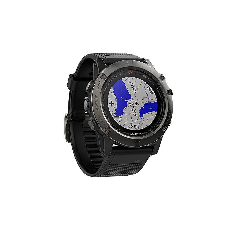 Garmin Fenix 5X Sapphire Multisport 51mm GPS Watch Slate Gray with Black Band (010 01733 00) + 1 Year Extended Warranty