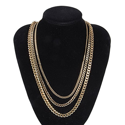 Faux Chains (SeWell Apparel 18K Faux Gold Chain Necklace Punk Style Jewelry Hip Hop Turnover Chain Necklace (Width 3.6mm, 70))