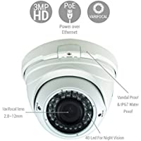 Amazix IP Surveillance Dome Camera | 1/2.9 Sony Cmos Sensor Ultimate 3MP 1080-1920 IR Vandal-Proof IP65 Waterproof Security Camera 36 LEDs 30m IR Range Night Vision Record | Varifocal Lens 2.8~12mm