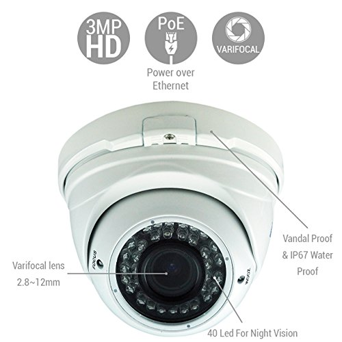 Amazix IP Surveillance Dome Camera With SONY Starvis Technology | Ultimate 1080p VandalProof Security Camera With 36 LEDs | Outstanding Night Vision | 30m IR Range, Varifocal Lens & Intelligent Alarm by Amazix