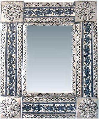 Fine Crafts Imports Small Silver Caracol Tile Talavera Tin Mirror