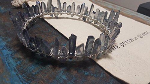 grey aura quartz crystal crown, silver circlet, crystal diadem, boho bridal halo headpiece, crystal moon hair accessories, celestial wedding by The Queen of Quartz