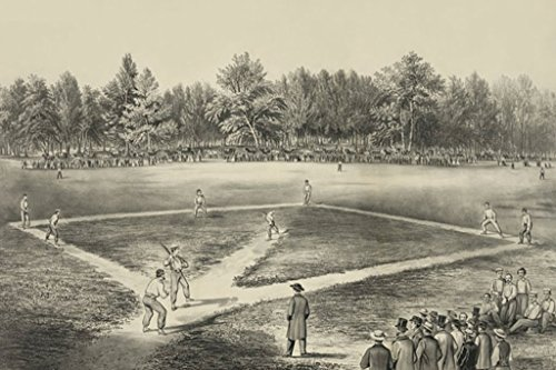 American National Game of Base Ball Elysian Fields, Hoboken, NJ Currier and Ives 20x30 Poster Semi-Gloss Heavy Stock Paper Print