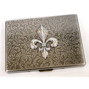 Glazed Black Cherry Steampunk Metal FLEUR DE LIS Cigarette Case Slim Wallet Large Card Case ASS1