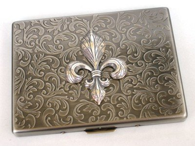 Glazed Black Cherry Steampunk Metal Fleur DE LIS Cigarette Case Slim Wallet Large Card Case ASS1 3